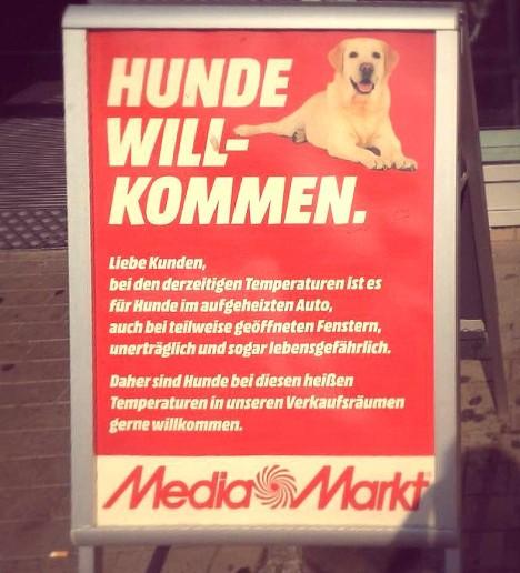 Media Markt heisst Hunde willkommen